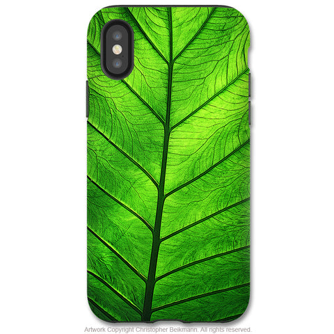 Leaf of Knowledge - iPhone X / XS / XS Max / XR Tough Case - Dual Layer Protection for Apple iPhone 10 - Green Leaf Art Case - iPhone X Tough Case - Fusion Idol Arts - New Mexico Artist Christopher Beikmann