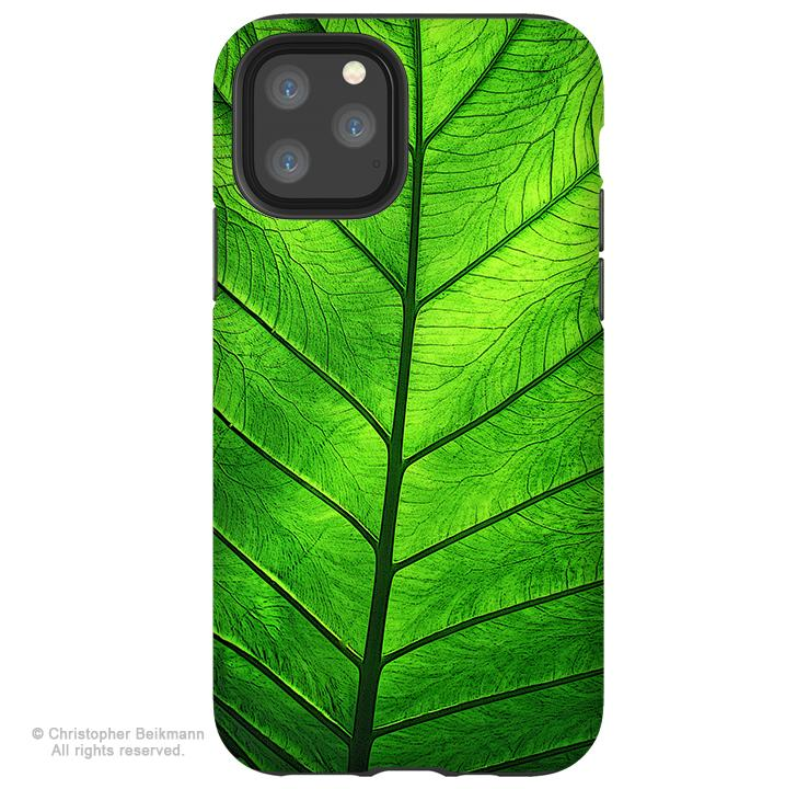 Leaf of Knowledge - iPhone 12 / 12 Pro / 12 Pro Max / 12 Mini Tough Case Tough Case - Dual Layer Protection for Apple iPhone XI - Tropical Green Leaf Art Case - iPhone 12 Tough Case - Fusion Idol Arts - New Mexico Artist Christopher Beikmann