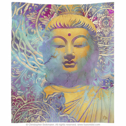 Colorful Zen Buddha Art Wall Tapestry - Light of Truth, Tapestry - Christopher Beikmann