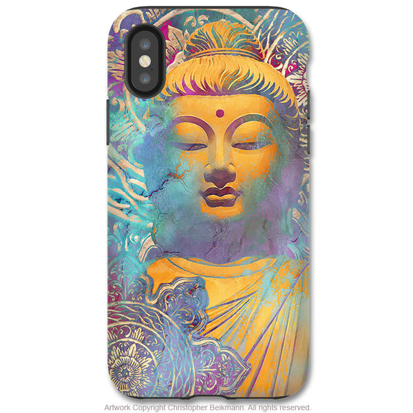 Light of Truth Buddha - iPhone X Tough Case - Dual Layer Protection for Apple iPhone 10 - Colorful Pastel Zen Buddhist Art Case - iPhone X Tough Case - Fusion Idol Arts - New Mexico Artist Christopher Beikmann