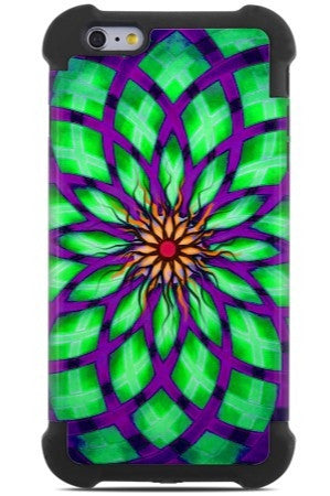 Geometric Lotus iPhone 6 Plus / 6s Plus Case - Lime Kalotuscope - Purple and Lime Green Abstract iPhone 6 Plus SUPER BUMPER Case - iPhone 6 6s Plus SUPER BUMPER Case - Fusion Idol Arts - New Mexico Artist Christopher Beikmann