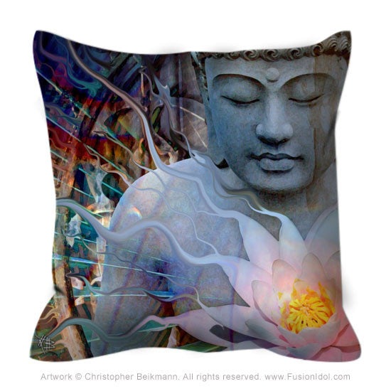Buddha Throw Pillow - Living Radiance - Throw Pillow - Fusion Idol Arts - New Mexico Artist Christopher Beikmann