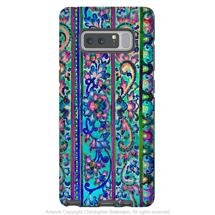 Tropical Floral Galaxy Note 8 Tough Case - Dual Layer Protection - Malaya - Pink and Blue Case for Samsung Galaxy Note 8 - Galaxy Note 8 Tough Case - Fusion Idol Arts - New Mexico Artist Christopher Beikmann