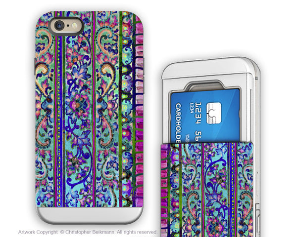 Floral iPhone 6 6s Credit Card Case - Malaya - Blue and Pink Floral Cardholder Wallet Case for iPhone 6s - Fusion Idol Arts