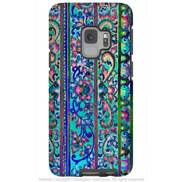 Malaya Floral - Galaxy S9 / S9 Plus / Note 9 Tough Case - Dual Layer Protection for Samsung S9 - Blue Paisley Art Case - Galaxy S9 / S9+ / Note 9 - Fusion Idol Arts - New Mexico Artist Christopher Beikmann