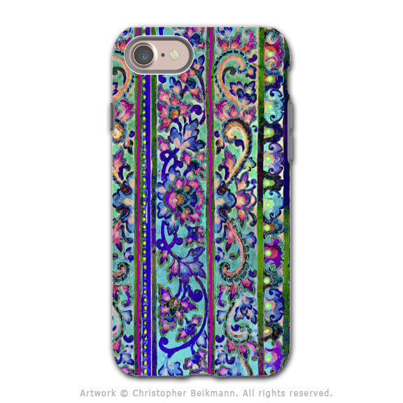 Tropical Floral iPhone 8 Tough Case - Blue and Pink Paisley Dual Layer Protection - Malaya - iPhone 8 Tough Case - Fusion Idol Arts - New Mexico Artist Christopher Beikmann
