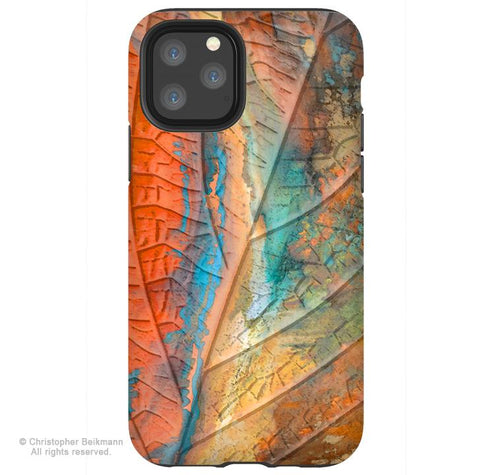 Marbled Leaf - iPhone 11 / 11 Pro / 11 Pro Max Tough Case - Dual Layer Protection for Apple iPhone XI - Colorful Abstract Art Case - iPhone 11 Tough Case - Fusion Idol Arts - New Mexico Artist Christopher Beikmann