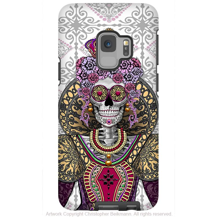 Mary Queen of Skulls - Galaxy S9 / S9 Plus / Note 9 Tough Case - Dual Layer Protection - Galaxy S9 / S9+ / Note 9 - Fusion Idol Arts - New Mexico Artist Christopher Beikmann