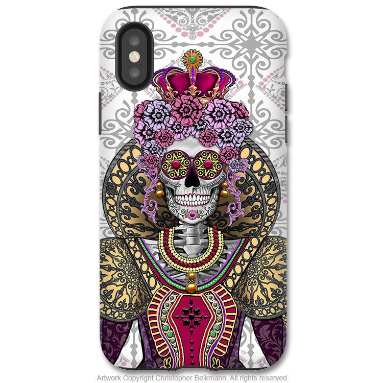 Mary Queen of Skulls - iPhone X Tough Case - Dual Layer Protection for Apple iPhone 10 - Renaissance Sugar Skull Queen - iPhone X Tough Case - Fusion Idol Arts - New Mexico Artist Christopher Beikmann