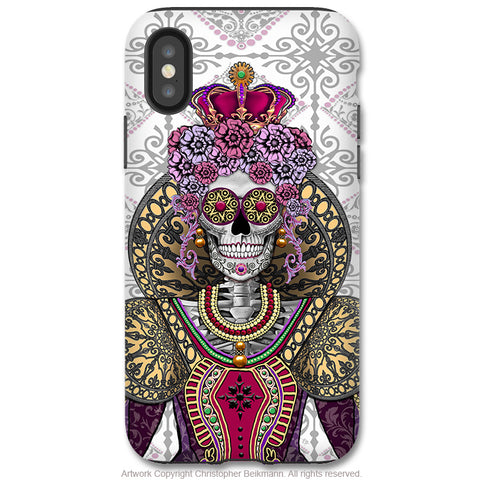 Mary Queen of Skulls - iPhone X / XS / XS Max / XR Tough Case - Dual Layer Protection for Apple iPhone 10 - Renaissance Sugar Skull Queen - iPhone X Tough Case - Fusion Idol Arts - New Mexico Artist Christopher Beikmann