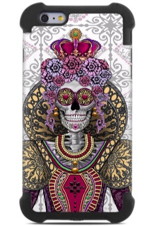Mary Queen of Skulls iPhone 6 Plus - 6s Plus Case - Renaissance Sugar Skull Queen - iPhone 6 6s Plus SUPER BUMPER Case - Fusion Idol Arts - New Mexico Artist Christopher Beikmann
