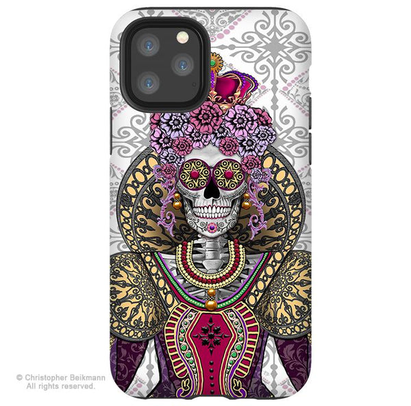 Mary Queen of Skulls - iPhone 11 / 11 Pro / 11 Pro Max Tough Case - Dual Layer Protection for Apple iPhone XI - Renaissance Sugar Skull - iPhone 11 Tough Case - Fusion Idol Arts - New Mexico Artist Christopher Beikmann