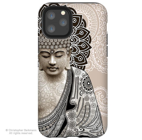 Meditation Mehndi Buddha - iPhone 11 / 11 Pro / 11 Pro Max Tough Case - Dual Layer Protection for Apple iPhone XI - Paisley Buddha Art Case - iPhone 11 Tough Case - Fusion Idol Arts - New Mexico Artist Christopher Beikmann