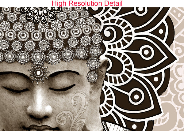 Tan Paisley Buddha - Square Canvas Art Print for Zen Decor - Meditation Mehndi, Premium Canvas Gallery Wrap - Christopher Beikmann