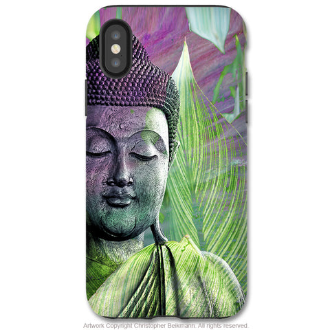 Meditation Vegetation Buddha - iPhone X Tough Case - Dual Layer Protection for Apple iPhone 10 - Zen Buddhist Art Case - iPhone X Tough Case - Fusion Idol Arts - New Mexico Artist Christopher Beikmann
