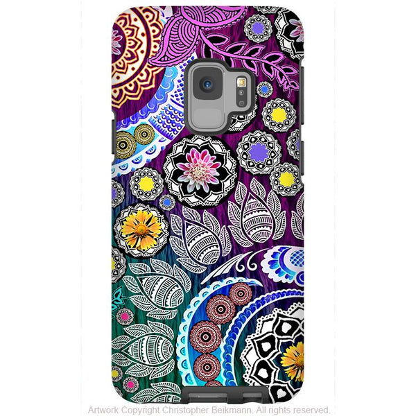 Mehndi Garden - Galaxy S9 / S9 Plus / Note 9 Tough Case - Dual Layer Protection for Samsung S9 - Purple Paisley Art Case - Galaxy S9 / S9+ / Note 9 - Fusion Idol Arts - New Mexico Artist Christopher Beikmann