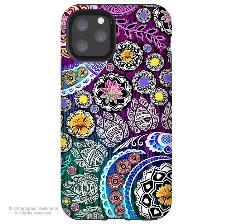 Mehndi Garden - iPhone 11 / 11 Pro / 11 Pro Max Tough Case - Dual Layer Protection for Apple iPhone Paisley Floral Art Case - iPhone 11 Tough Case - Fusion Idol Arts - New Mexico Artist Christopher Beikmann
