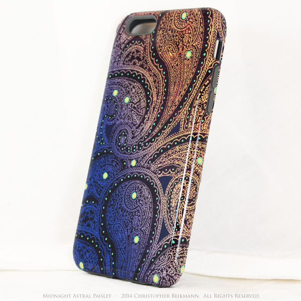 Unique iPhone 6 6s TOUGH Case - Midnight Astral Paisley - Purple, Blue and Gold Tone Paisley iPhone 6 Case - iPhone 6 6s TOUGH Case - Fusion Idol Arts - New Mexico Artist Christopher Beikmann