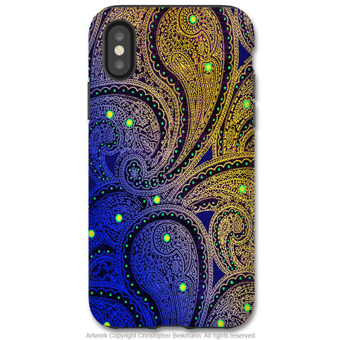 Midnight Astral Paisley - iPhone X / XS / XS Max / XR Tough Case - Dual Layer Protection for Apple iPhone 10 - Purple Paisley Art Case - iPhone X Tough Case - Fusion Idol Arts - New Mexico Artist Christopher Beikmann