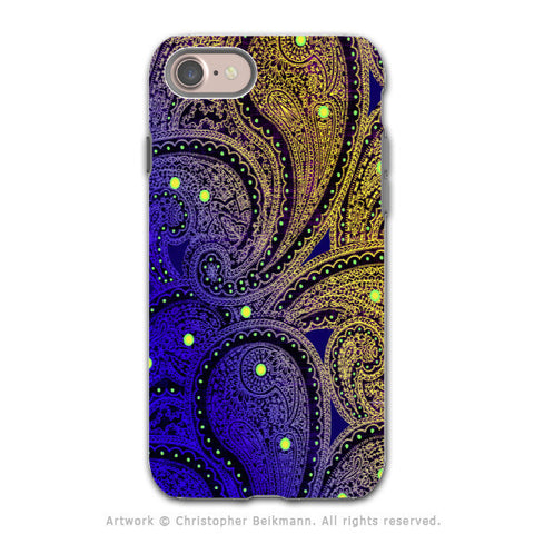 Purple Paisley - Artistic iPhone 7 Tough Case - Dual Layer Protection - Midnight Astral Paisley - iPhone 7 Tough Case - Fusion Idol Arts - New Mexico Artist Christopher Beikmann