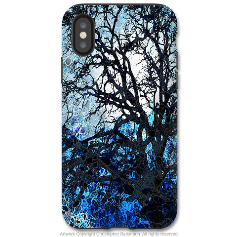 Moonlit Night - iPhone X / XS / XS Max / XR Tough Case - Dual Layer Protection for Apple iPhone 10 - Blue Tree Abstract Art Case - iPhone X Tough Case - Fusion Idol Arts - New Mexico Artist Christopher Beikmann