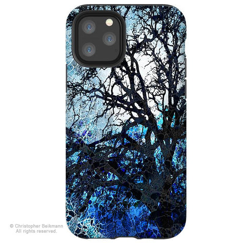 Moonlit Night - iPhone 11 / 11 Pro / 11 Pro Max Tough Case - Dual Layer Protection for Apple iPhone XI - Blue Tree Art Case - iPhone 11 Tough Case - Fusion Idol Arts - New Mexico Artist Christopher Beikmann