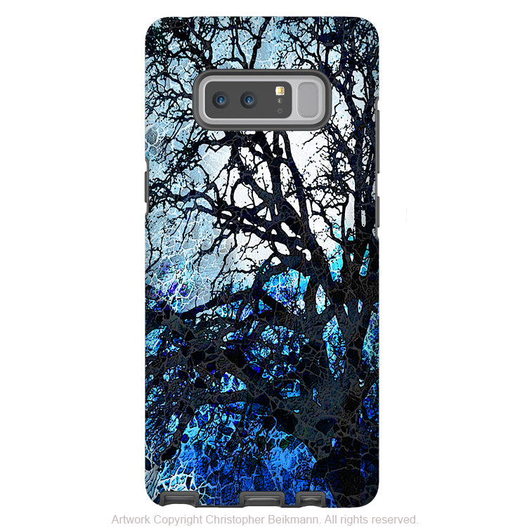 Blue Tree Abstract Galaxy Note 8 Case - Artistic Case for Samsung Galaxy Note 8 - Moonlit Night - Galaxy Note 8 Tough Case - Fusion Idol Arts - New Mexico Artist Christopher Beikmann