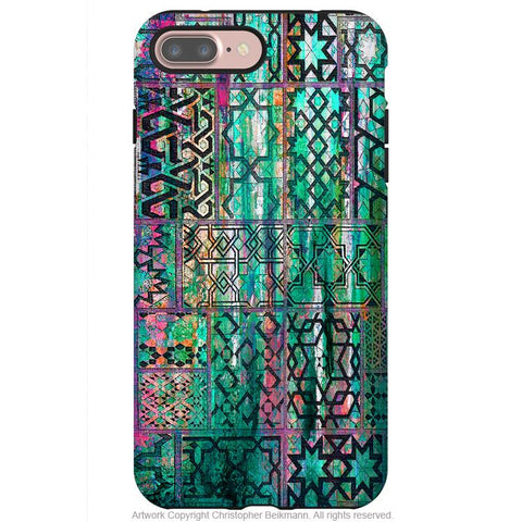 Moroccan Teal Abstract - Artistic iPhone 8 PLUS Tough Case - Dual Layer Protective Case - iPhone 8 Plus Tough Case - Fusion Idol Arts - New Mexico Artist Christopher Beikmann