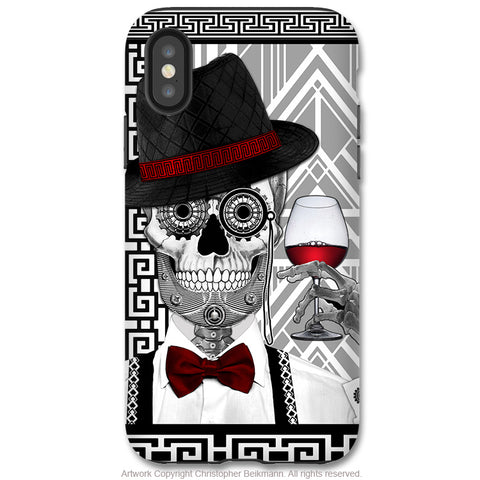 Mr JD Vanderbone - iPhone X / XS / XS Max / XR Tough Case - Dual Layer Protection for Apple iPhone 10 - 1920's Day of the Dead Art - iPhone X Tough Case - Fusion Idol Arts - New Mexico Artist Christopher Beikmann