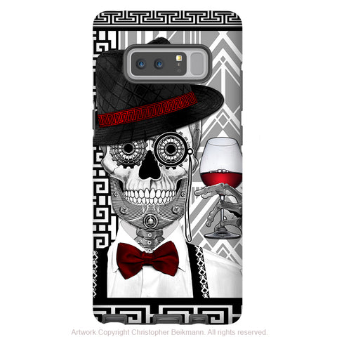 1920's Sugar Skull Galaxy Note 8 Case - Mr JD Vanderbone - Black and White Sugar Skull Note 8 Tough Case - Galaxy Note 8 Tough Case - Fusion Idol Arts - New Mexico Artist Christopher Beikmann