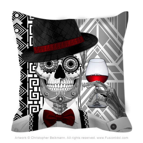 1920's Sugar Skull Throw Pillow - Mr JD Vanderbone - Fusion Idol Arts