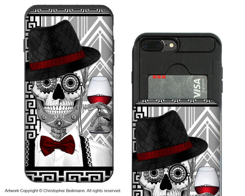 1920's Sugar Skull iPhone 7 Plus Card Holder Case - Mr JD Vanderbone - Wallet Compartment Case - iPhone 7 Plus Card Holder Case - Fusion Idol Arts - New Mexico Artist Christopher Beikmann