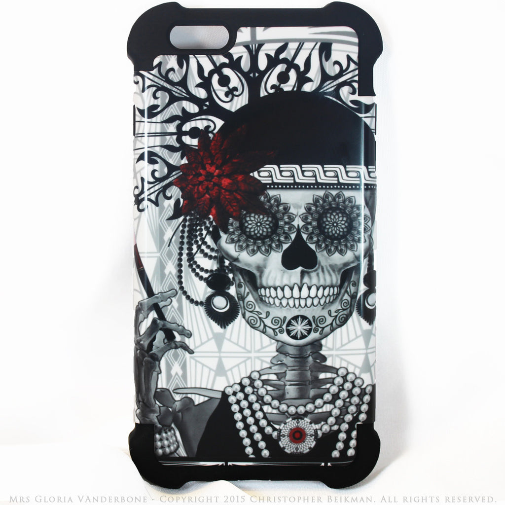 CUSTOM ORDER Flapper Girl Sugar Skull - Mrs Gloria Vanderbone - iPhone 6 - 6s SUPER BUMPER Case - SPECIAL ORDER - Fusion Idol Arts - New Mexico Artist Christopher Beikmann