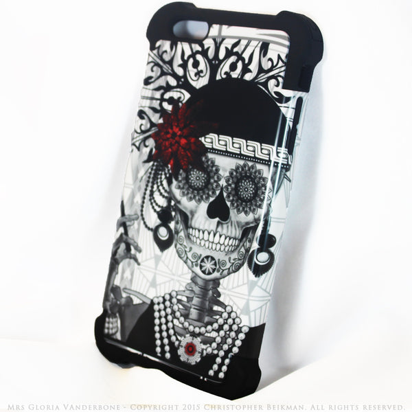Flapper Girl Sugar Skull - Mrs Gloria Vanderbone - iPhone 6 Plus - 6s Plus SUPER BUMPER Case - iPhone 6 6s Plus SUPER BUMPER Case - Fusion Idol Arts - New Mexico Artist Christopher Beikmann