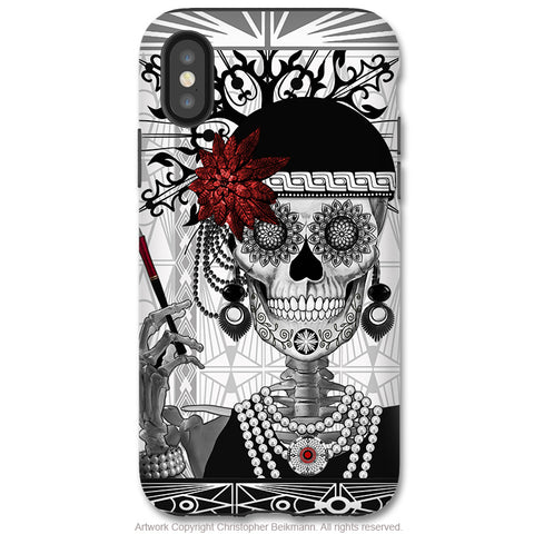 Mrs Gloria Vanderbone - iPhone X Tough Case - Dual Layer Protection for Apple iPhone 10 - Flapper Girl Sugar Skull - iPhone X Tough Case - Fusion Idol Arts - New Mexico Artist Christopher Beikmann