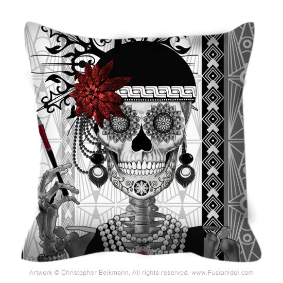 Flapper Girl Sugar Skull Throw Pillow - 1920's Art Deco Skull Pillow - Mrs Gloria Vanderbone - Throw Pillow - Fusion Idol Arts - New Mexico Artist Christopher Beikmann