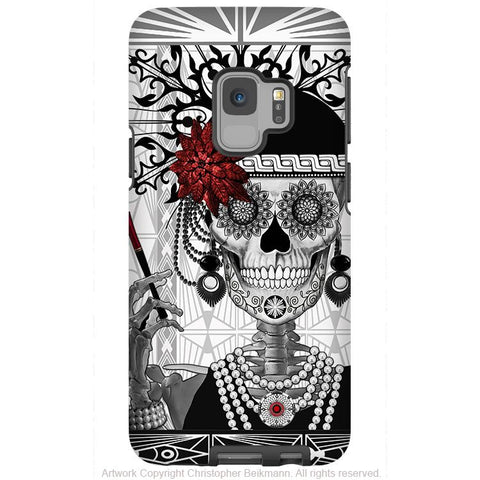 Flapper Girl Sugar Skull - Galaxy S9 / S9 Plus / Note 9 Tough Case - Dual Layer Protection for Samsung S9 - Mrs Gloria Vanderbone - Galaxy S9 / S9+ / Note 9 - Fusion Idol Arts - New Mexico Artist Christopher Beikmann