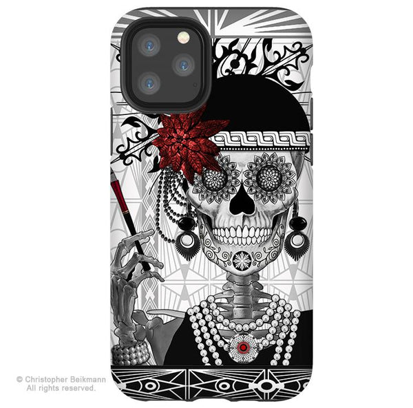 Mrs Gloria Vanderbone - iPhone  Tough Case - 12 / 12 Pro / 12 Pro Max / 12 Mini Tough Case Dual Layer Protection for Apple iPhone 12 Flapper Girl Sugar Skull Case - iPhone 12 Tough Case - Fusion Idol Arts - New Mexico Artist Christopher Beikmann