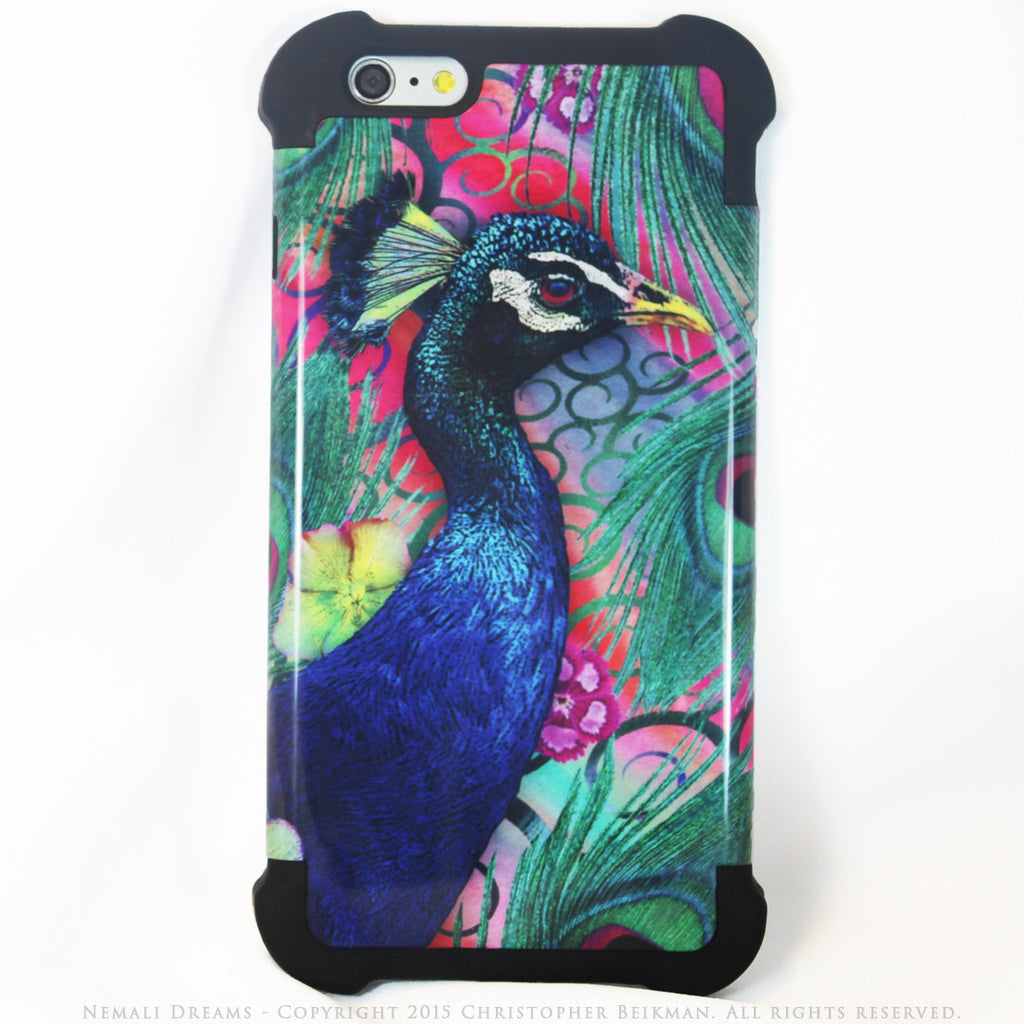 Colorful Peacock Floral - Nemali Dreams - iPhone 6 Plus - 6s Plus SUPER BUMPER Case - iPhone 6 6s Plus SUPER BUMPER Case - Fusion Idol Arts - New Mexico Artist Christopher Beikmann