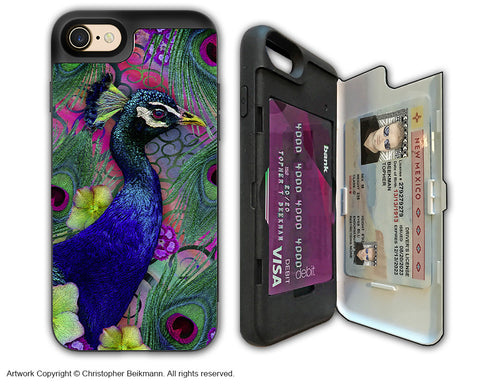 Colorful Peacock Floral - Artistic Apple iPhone 7 Card Holder Case - Protective Wallet Case - nemali dreams - iPhone 7 Card Holder Case - Fusion Idol Arts - New Mexico Artist Christopher Beikmann