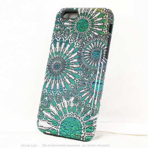 Turquoise iPhone 6 6s TOUGH Case - Unique iPhone 6 Case with Urchin Abstract Artwork - Ocean Lace - iPhone 6 6s TOUGH Case - Fusion Idol Arts - New Mexico Artist Christopher Beikmann