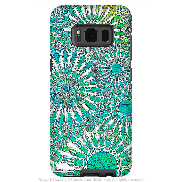 Turquoise Sea Urchin - Artistic Samsung Galaxy S8 Tough Case - Dual Layer Protection - ocean lace - Galaxy S8 Tough Case - Fusion Idol Arts - New Mexico Artist Christopher Beikmann