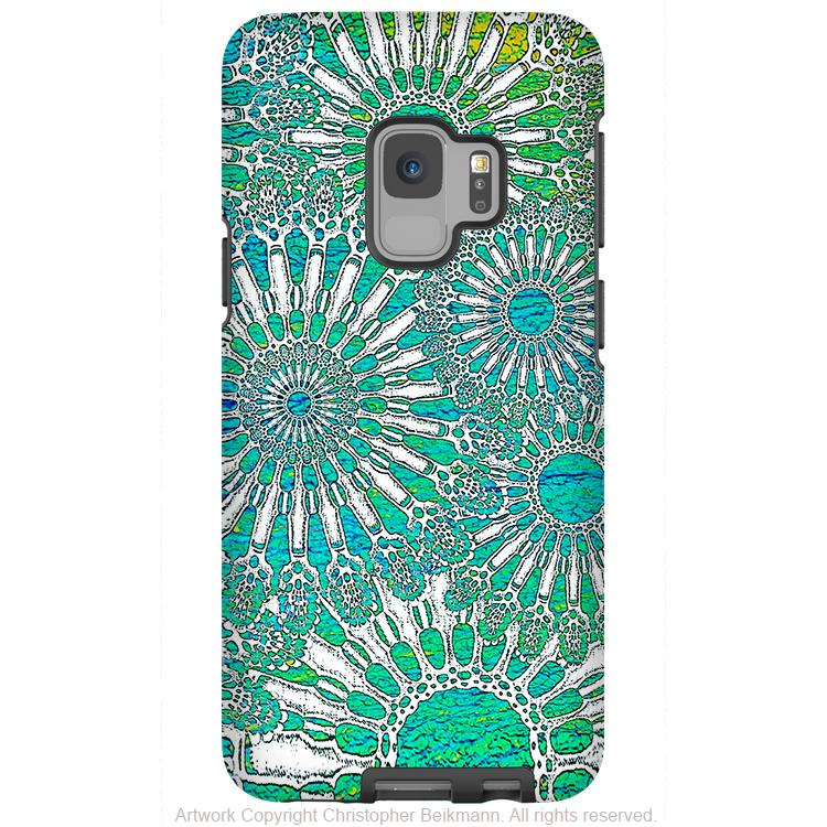 Ocean Lace - Galaxy S9 / S9 Plus / Note 9 Tough Case - Dual Layer Protection for Samsung S9 - Turquoise Art Case - Galaxy S9 / S9+ / Note 9 - Fusion Idol Arts - New Mexico Artist Christopher Beikmann
