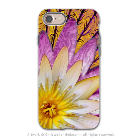 Pink and Orange Lotus Blossom - Artistic iPhone 8 Tough Case - Dual Layer Protection - Sun Bloom - iPhone 8 Tough Case - Fusion Idol Arts - New Mexico Artist Christopher Beikmann