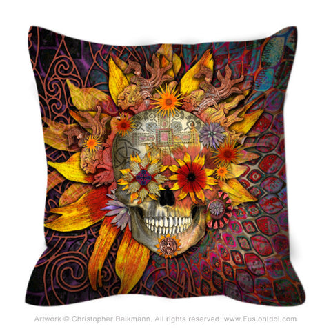 Origins Botaniskull - Sugar Skull Throw Pillow - Fusion Idol - Art and Gifts by Artist Christopher Beikmann
