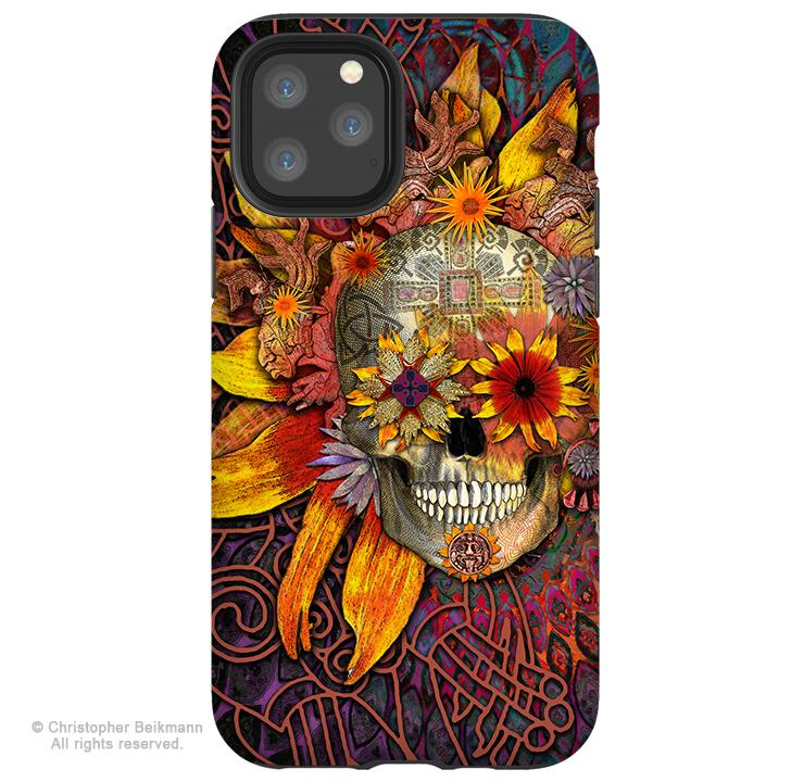 Origins Botaniskull - iPhone 11 / 11 Pro / 11 Pro Max Tough Case - Dual Layer Protection for Apple iPhone XI - Sunflower Sugar Skull Case - iPhone 11 Tough Case - Fusion Idol Arts - New Mexico Artist Christopher Beikmann