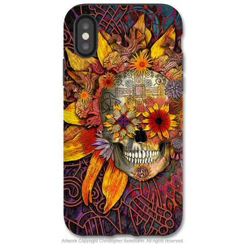 Origins Botaniskull - iPhone X / XS / XS Max / XR Tough Case - Dual Layer Protection for Apple iPhone 10 - Sunflower Sugar Skull Art Case - iPhone X Tough Case - Fusion Idol Arts - New Mexico Artist Christopher Beikmann