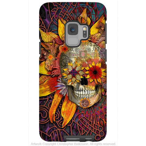 Sunflower Sugar Skull - Galaxy S9 / S9 Plus / Note 9 Tough Case - Dual Layer Protection - Galaxy S9 / S9+ / Note 9 - Fusion Idol Arts - New Mexico Artist Christopher Beikmann