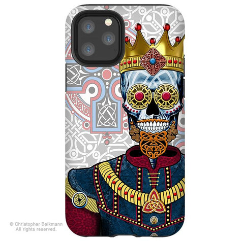 O'Skully King of Celts - iPhone 11 / 11 Pro / 11 Pro Max Tough Case - Dual Layer Protection for Apple iPhone XI - Celtic Sugar Skull - iPhone 11 Tough Case - Fusion Idol Arts - New Mexico Artist Christopher Beikmann