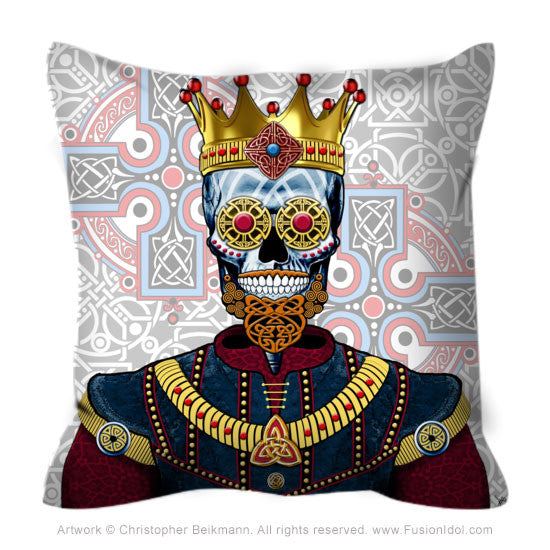 Celtic Renaissance Skull King Throw Pillow - O'Skully King of Celts - Throw Pillow - Fusion Idol Arts - New Mexico Artist Christopher Beikmann